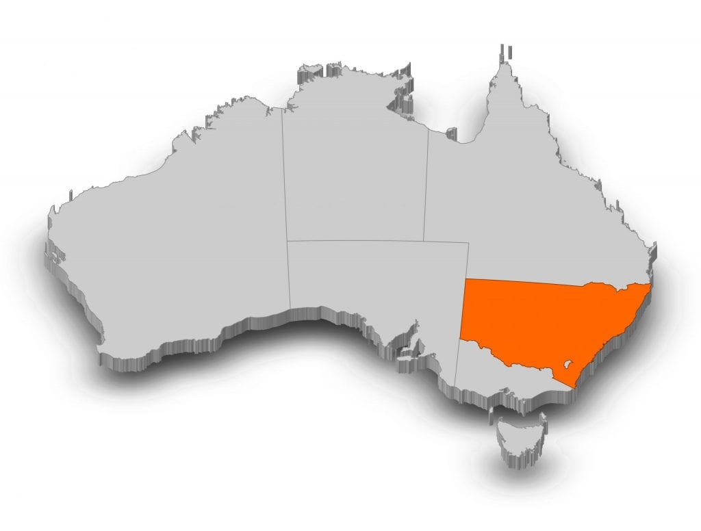 Map of Australia - New South Wales