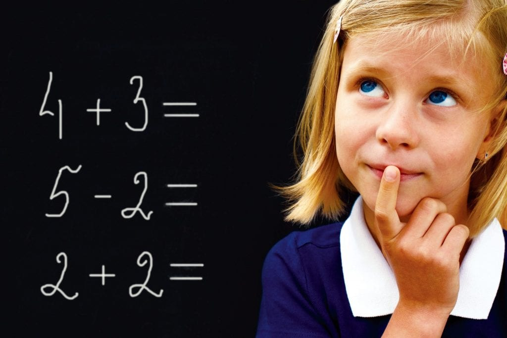 Schoolgirl thinking about maths