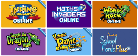 EdAlive Online Learning websites include: Typing Tournament, Maths Invaders, Words Rock, Volcanic Panic Reading Success and Baggin' the Dragon Maths