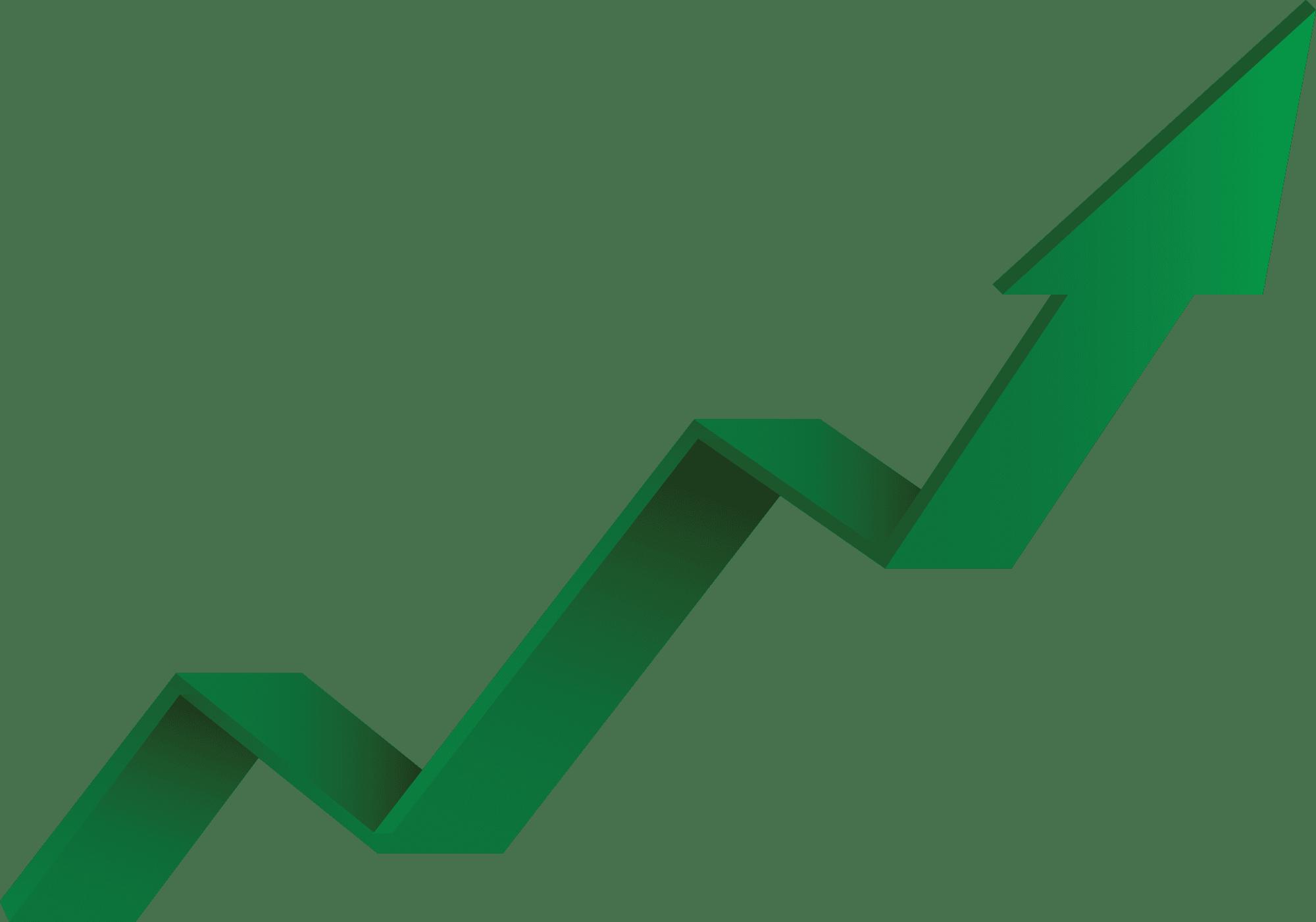 Upward green arrow