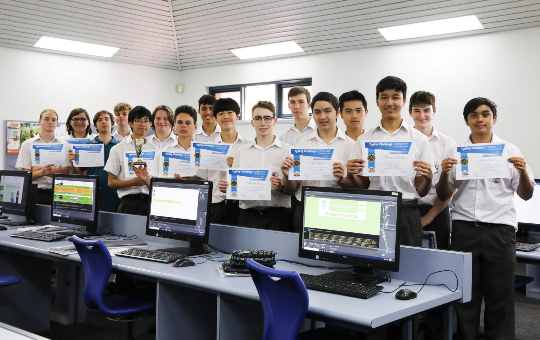 Students with Typing Challenge Certificates